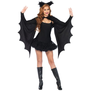 Shrug Cozy Bat Wings With Ears Adult Costume - adult halloween costumes female