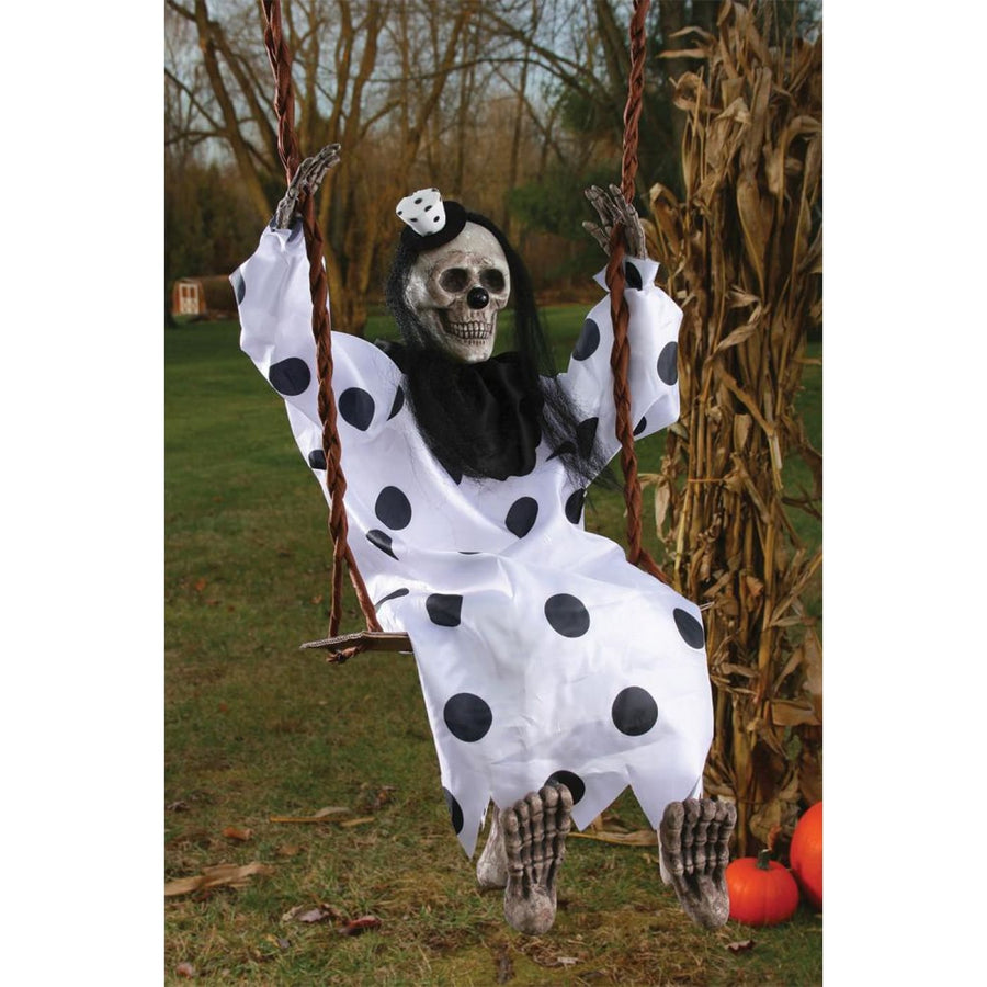 Skeleton Clown On Swing Prop - clown costumes Decorations & Props Halloween