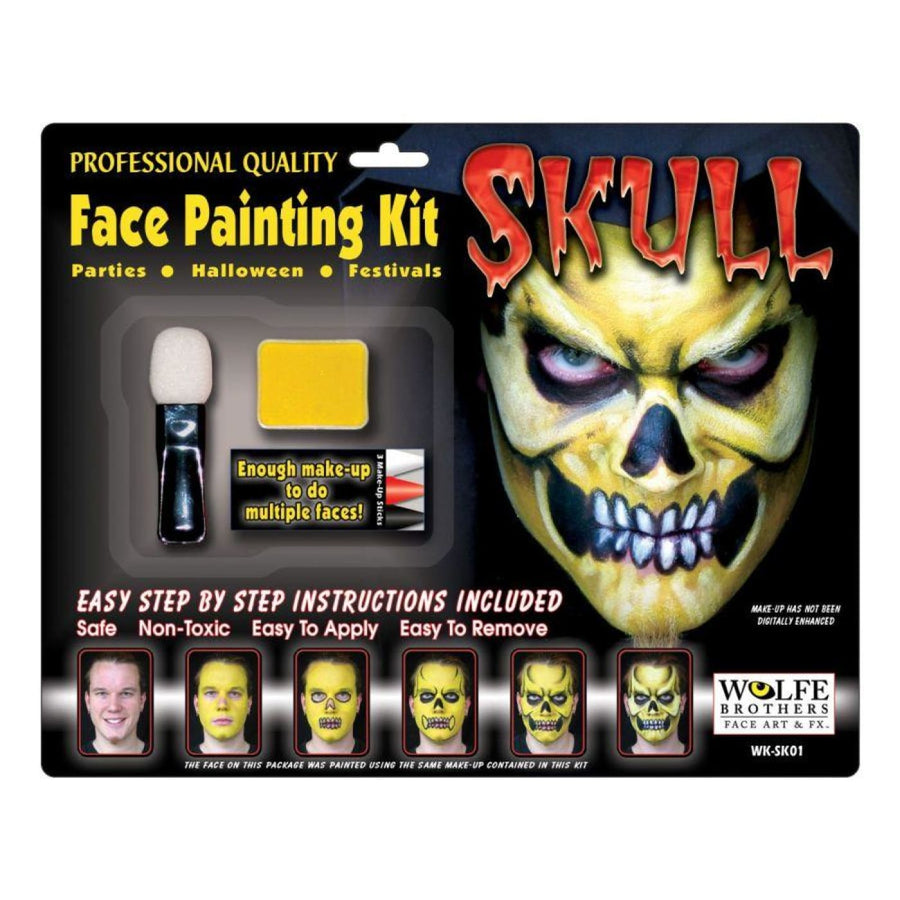 Skull Makeup Kit - Costume Makeup Ghoul Skeleton & Zombie Costume Halloween