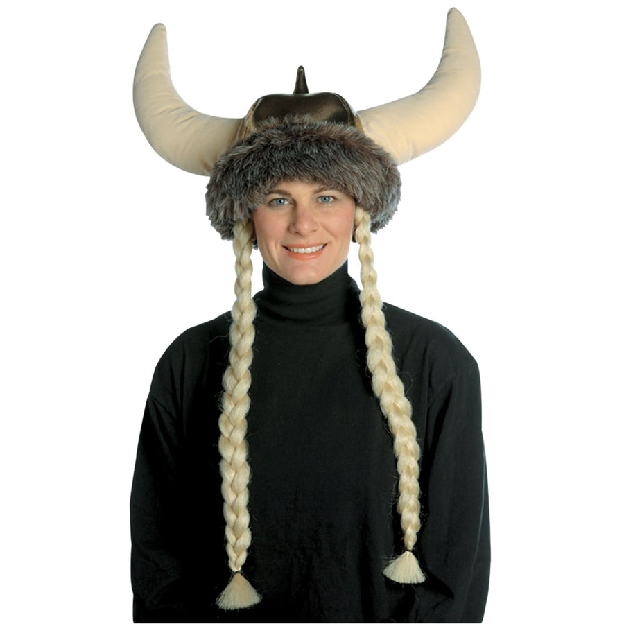 Space Viking Hat W Braids - Halloween costumes