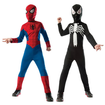 Spiderman Black Suit Reversable Boys Costume Large - Boys Costume Halloween