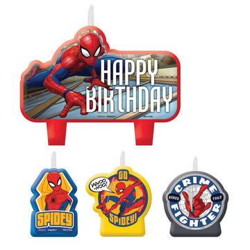 Spiderman Candles -Set of 4 - Birthday Party Decorations Birthday Party Plates