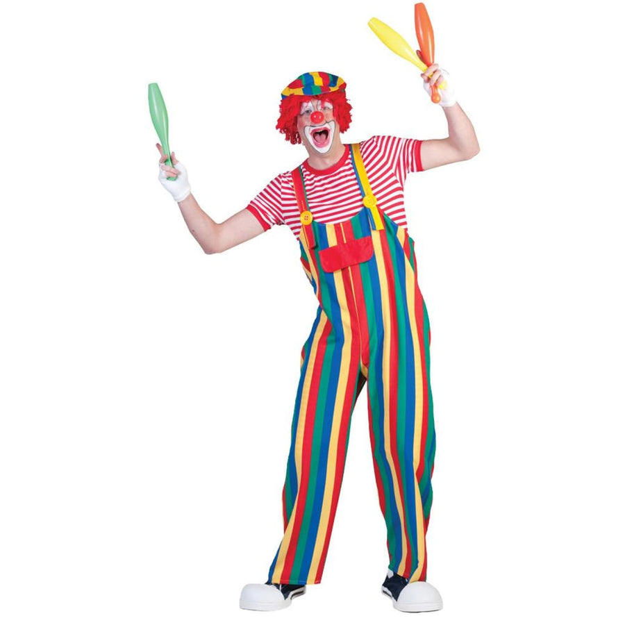 Striped Clown Overalls Mens Costume Lg - clown costumes Mens Costumes New