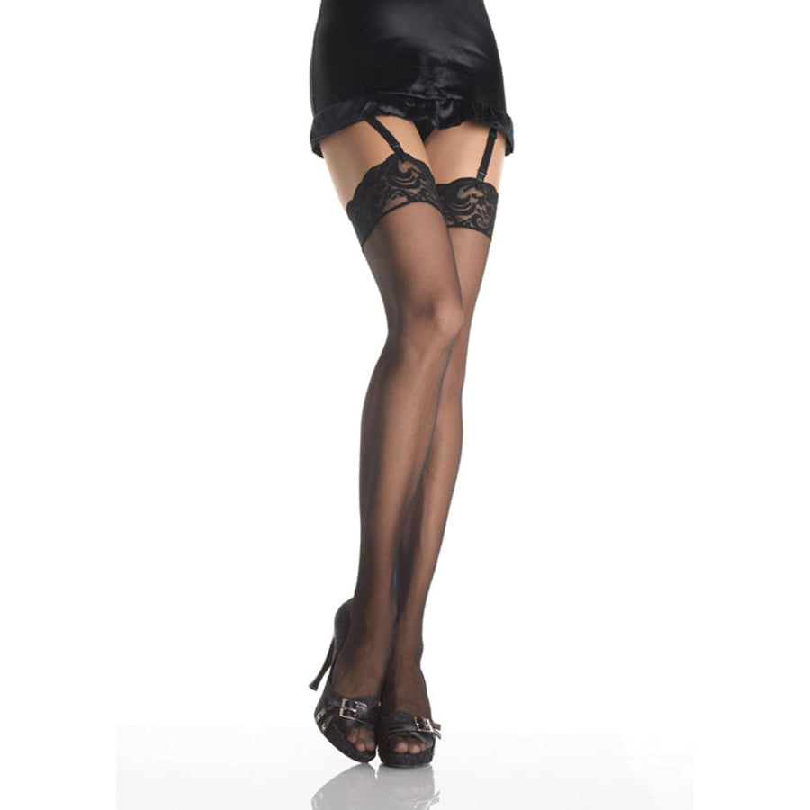 Thigh-Hi W Lace Top Nylon Sheer Black - Halloween costumes Tights Socks &