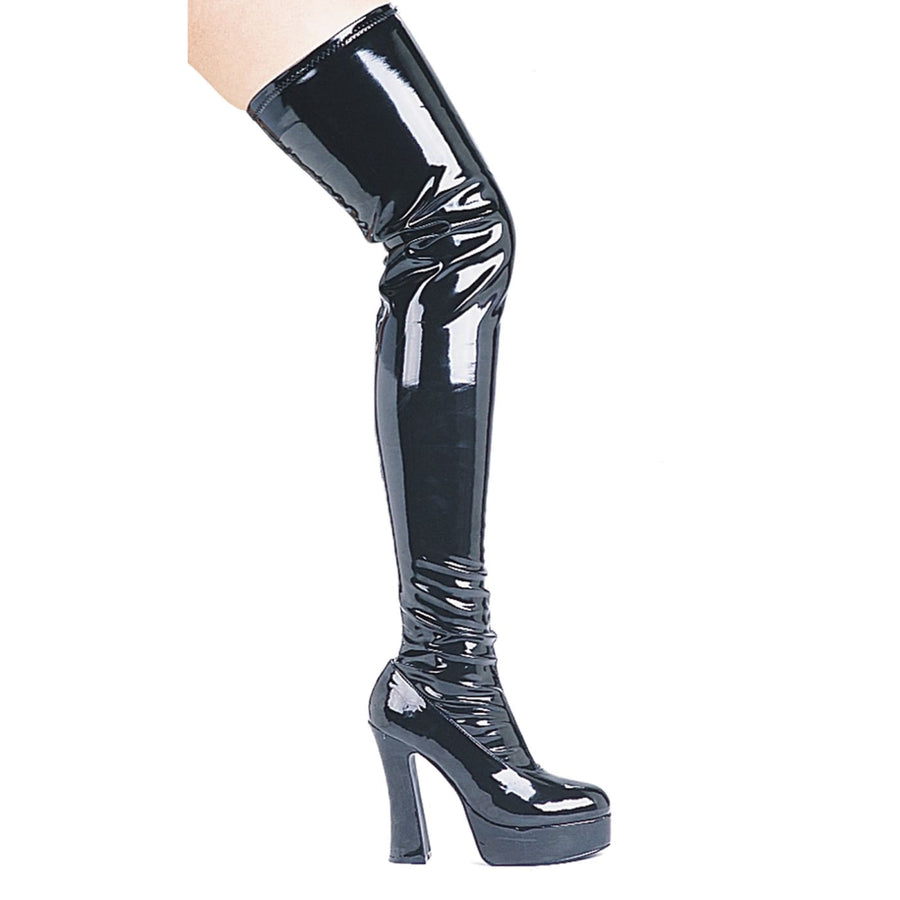 Thigh High Zip Up Black Vinyl Thrill Boots Sz12 - Halloween costumes Shoes &