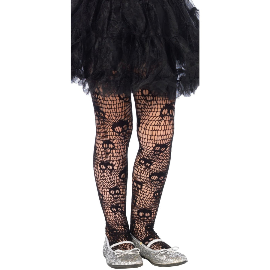 Tights Skull Striped Net Girls Md - Ghoul Skeleton & Zombie Costume Halloween