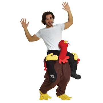 Turkey Trot Piggyback Adult Costume - adult halloween costumes Funny Costume