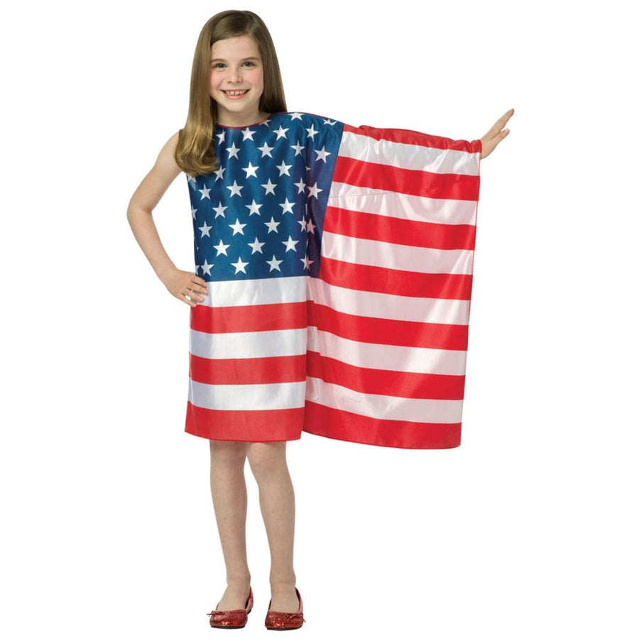 Usa Flag Dress Kids Costume Medium 7-10 - Girls Costumes Halloween costumes