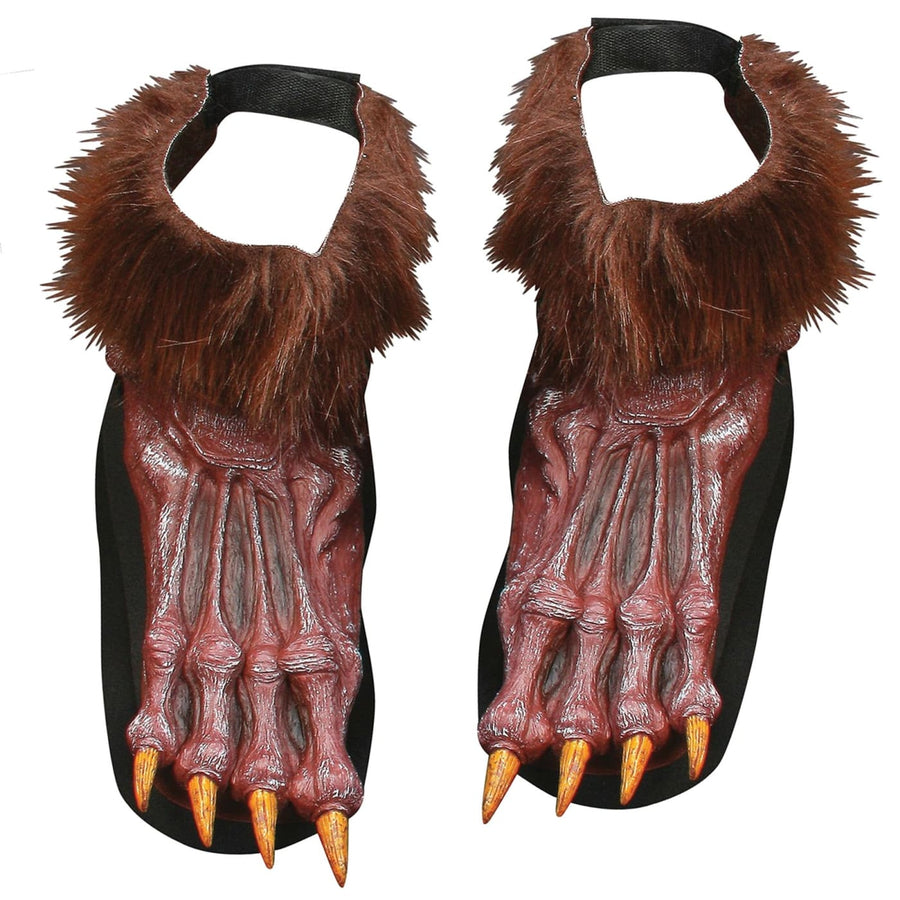 Werewolf Shoe Covers Adult Brown - Ghoul Skeleton & Zombie Costume Halloween
