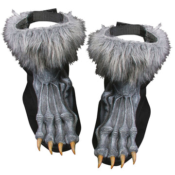 Werewolf Shoe Covers Adult Grey - Animal & Insect Costume Ghoul Skeleton &