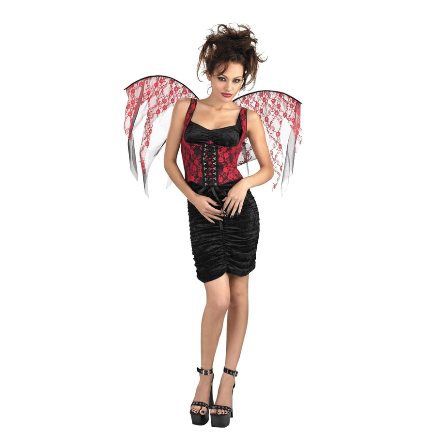 Wings Red Lace Black Corset - Halloween costumes Holiday Costumes Robes Capes &