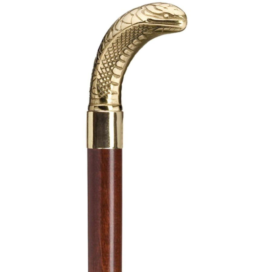 Wooded Brass Cane Snake - Weapons Wands & Armor