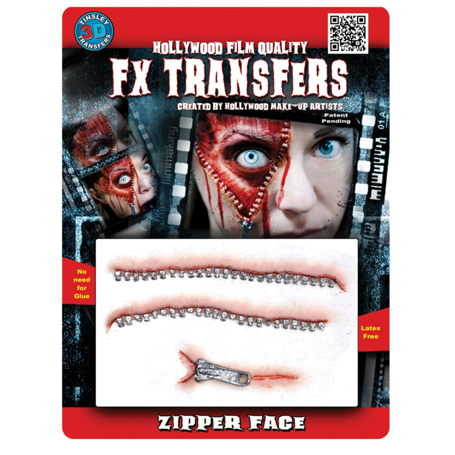 Zipper Face 3D Fx Professional Transfer - Costume Makeup Ghoul Skeleton & Zombie