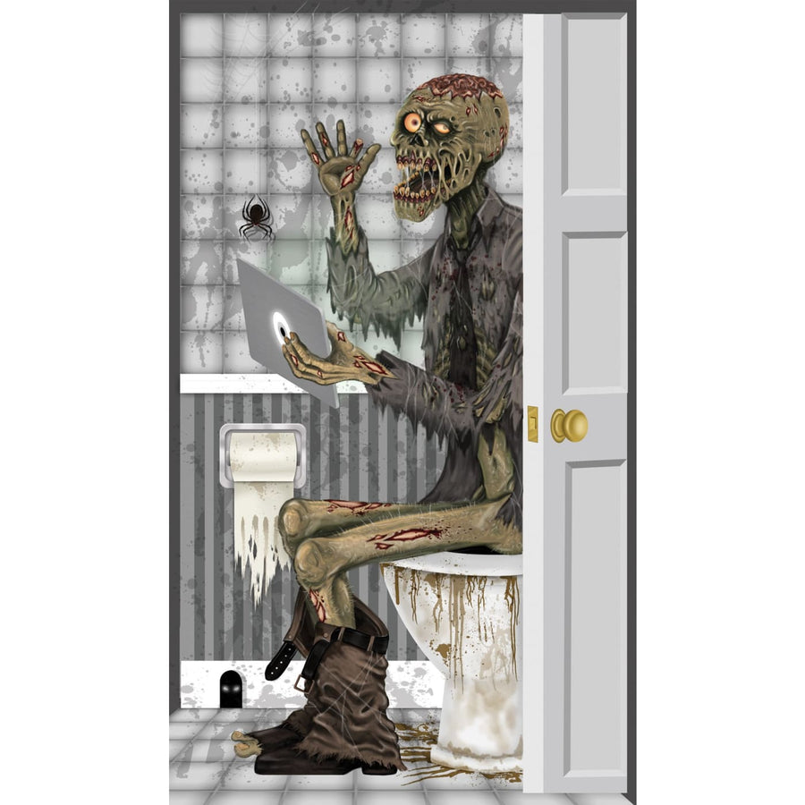 Zombie Toilet Door Cover - Decorations & Props Halloween costumes haunted house