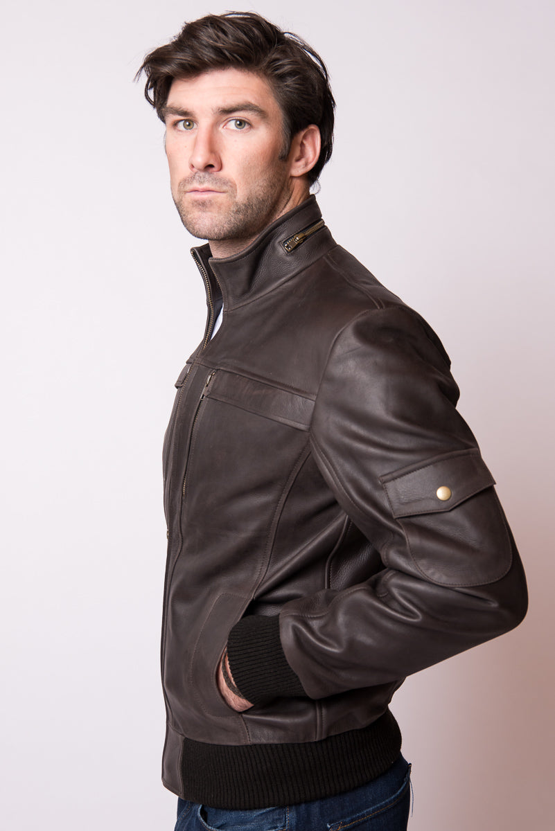 Brown Leather Biker Jacket - McKinney