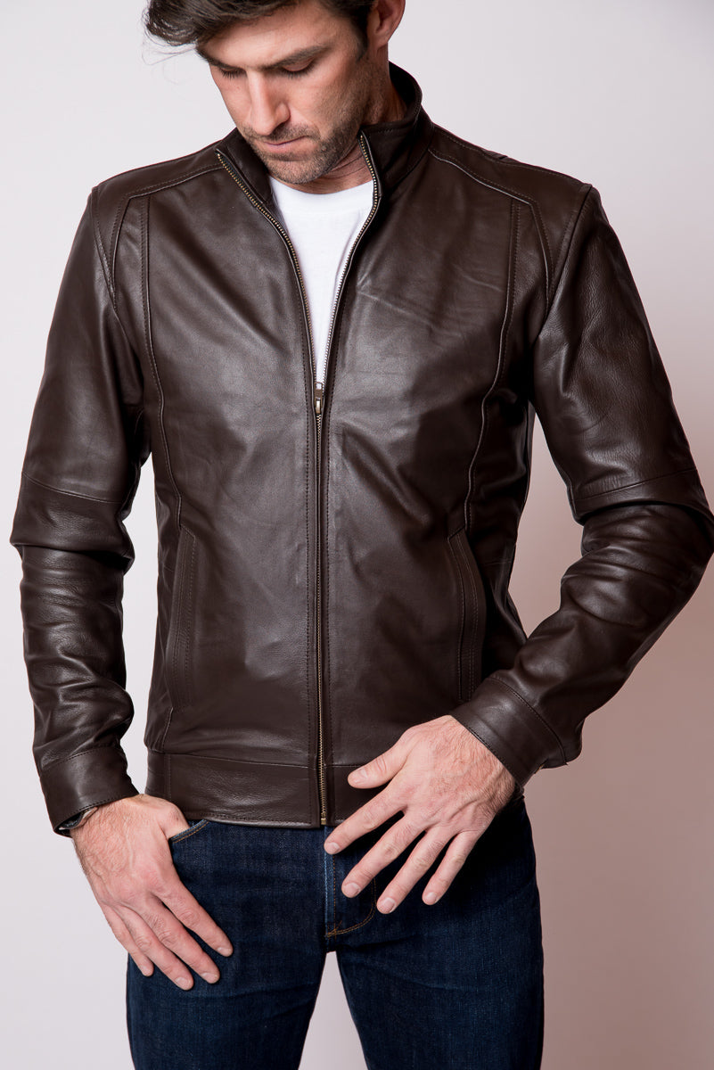 Brown Leather Racer Jacket - Roanoke