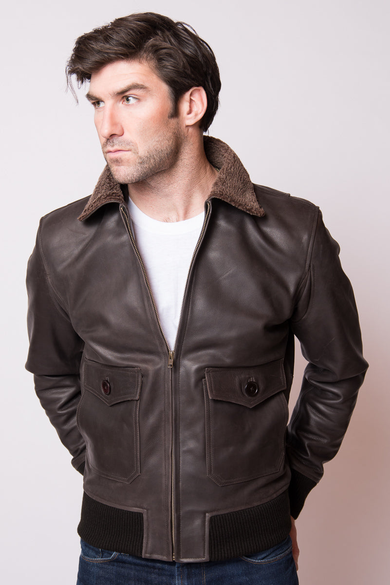Brown Leather Fleece Bomber Jacket - Rochester