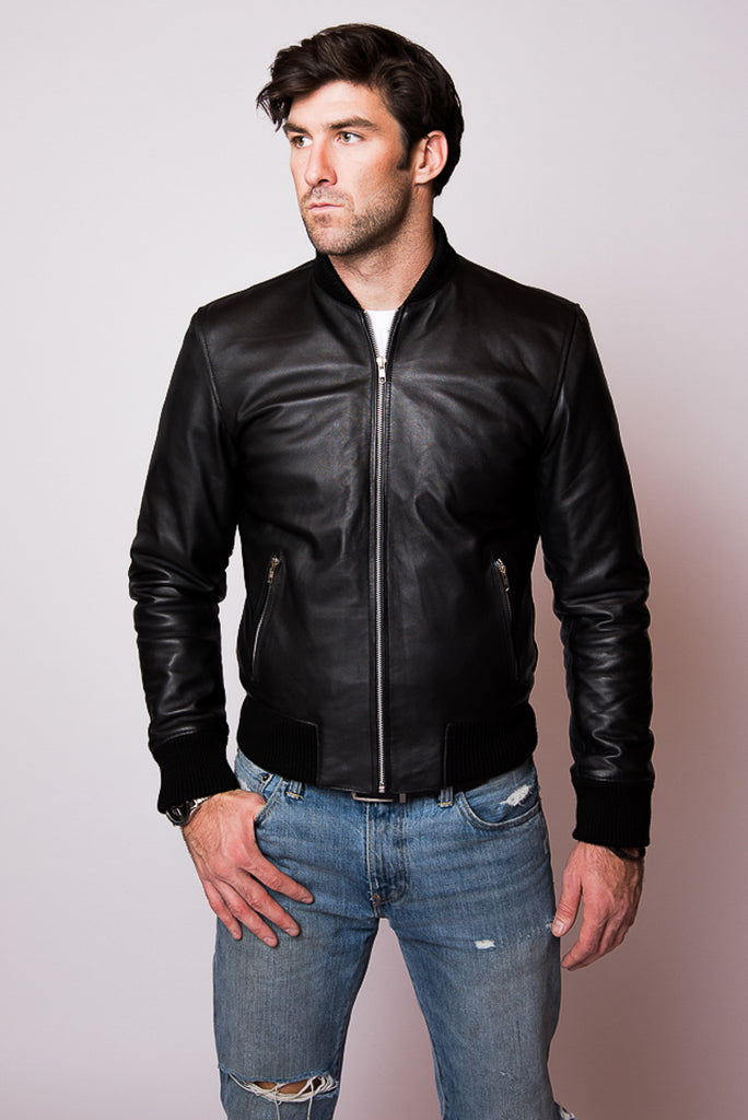 Black Leather Bomber Jacket - Everett