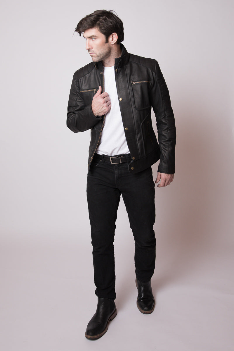 Black Leather Moto Jacket - Detroit