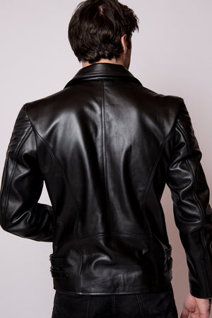 Black Leather Double Rider Jacket - Los Angeles