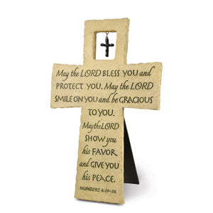 Cast Stone Wall Cross - Bless You