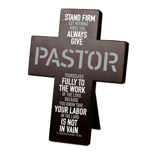 Cross Desktop 'Steadfast Pastor' Metal Black - KI Gifts Christian Supplies