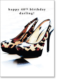 Happy 40th Birthday Darling! (Leopard Print High Heels) - KI Gifts Christian Supplies