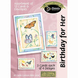 Birthday For Her Card Assortment - Butterfly Theme (12 Boxed Cards)