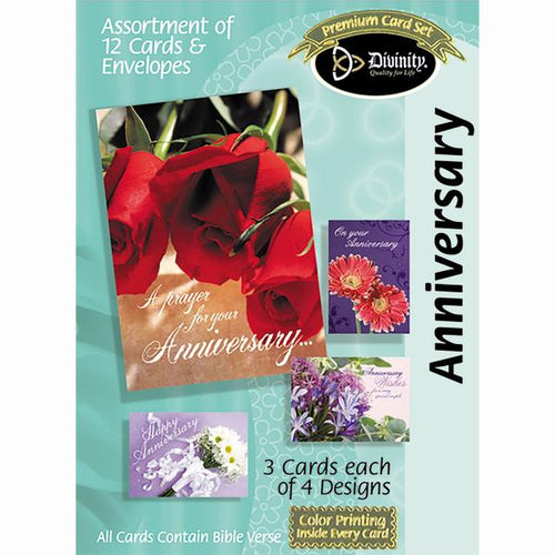 Anniversary Card Assortment FloralTheme (12 Boxed Cards)