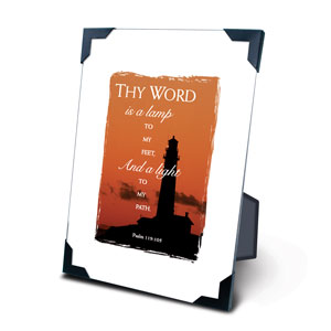 Lighthouse 5 X 7 Plaque With Corner Clips - KI Gifts Christian Supplies