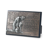 Football Small Moments Of Faith Sculpture Plaque - KI Gifts Christian Supplies