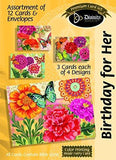 Birthday For Her Assortment:Butterfly Blooms (12 Boxed Cards)