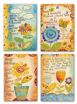Happy Birthday : Abstract Flowers (12 Boxed Cards)