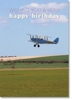Happy Birthday : Tiger Moth biplane - KI Gifts Christian Supplies