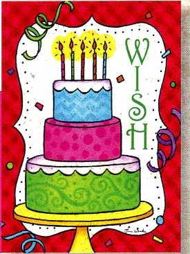 Greeting Card - Pack of 6 Birthday - Wish Cake