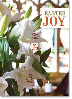 Happy Easter - Lilies With Stained Glass Window (order in 6)