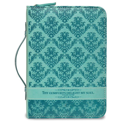Bible Cover: Teal Green Thy Comforts Delight My Soul Psalm 94:19