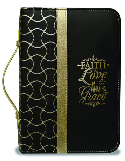 Bible Cover: Black and Gold Faith Love Amazing Grace
