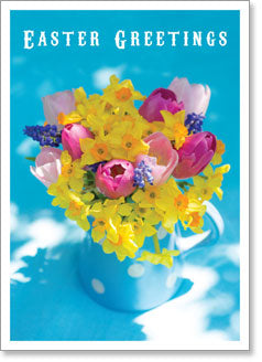 Happy Easter - Flowers in Blue Spotty Jug (order in 6)