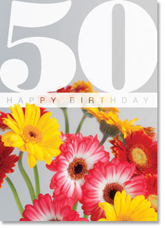 Happy Birthday : Colourful Gerberas 50th (order in 6)