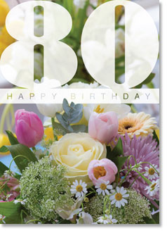 Happy Birthday : Cream rose arrangement 80th (order in 6)
