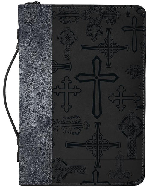 Bible Cover: Silver Black Crosses