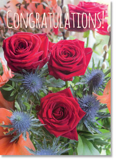 Congratulations : Red Rose Display (order in 6)