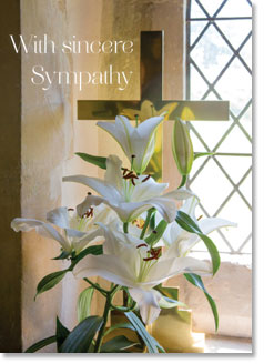Sympathy - White Lilies Near Cross (order in 6)