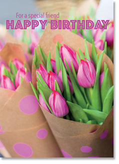 Happy Birthday For A Special Friend Pink Tulips Ki Gifts