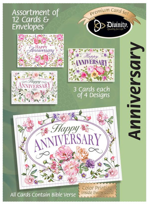 Anniversary-Floral Sprays & Traditional Wording (12 Boxed Cards)