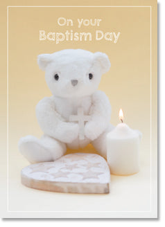 Baptism - Toy Bear With Cross and Candle (order in 6)