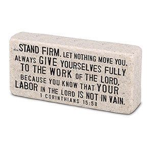 Cast Stone Plaque Scripture Stone - Stand Firm