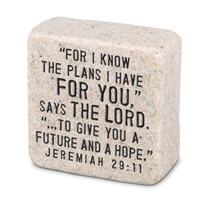 Cast Stone Plaque Scripture Stone - His Plans