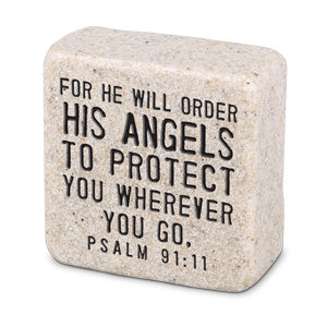 Cast Stone Plaque Scripture Stone - His Angels